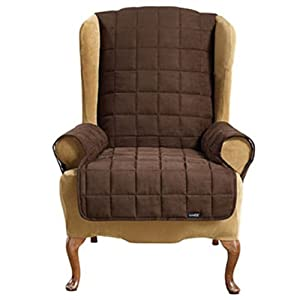 Surefit 1 Piece Soft Suede Pet Cover Wing Chair Recliner Chocol