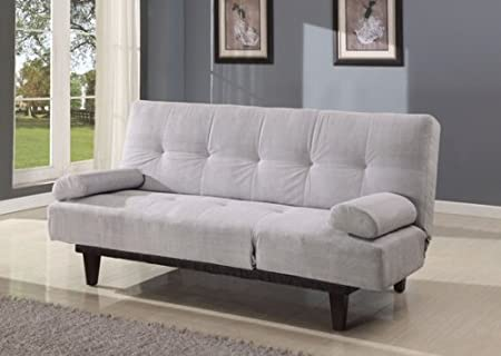 Cybil gray microfiber fabric upholstered adjustable sofa futon bed with tufted back and adjustable side rest