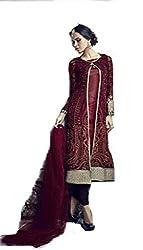 Om Creation brown Embroidered santoon Salwar Suit HS60