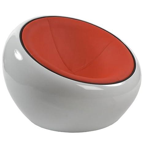 Alterego - Fauteuil boule lounge 'ATMO' pivotant. Coque blanc, simili cuir rouge