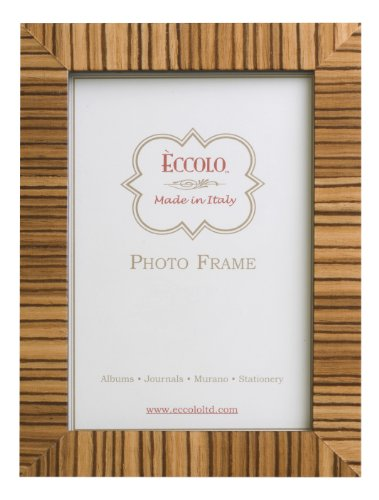 Eccolo Made In Italy Tan Zebra Striped Wood Frame, Holds an 8 x 10-Inch Photo