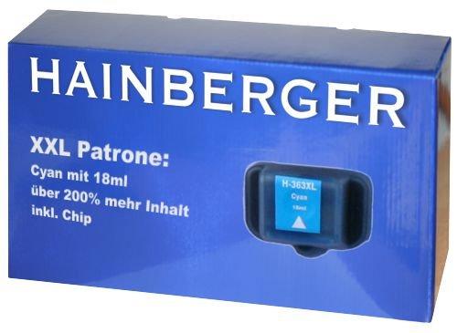 Hainbergerkompatible XXL Tintenpatrone 18ml 1x Cyan für HP 363 Serie 363C für HP Photosmart C5190 C5194 C5150 C5160 C5170 C5173 C5175 C5183 C5185 C5188 C5190 C5194 C6150 C6160 D6160 D7145 D7155 D7160 D7163 D7168 D7180 D7183 D7260 D7280 D7300 D7345 D7355 D7360 D7363 D7368 D7460 D7463 D7468 Photosmart 3100 3110 3200 3210 3310 C5180 C6160 C6180 C7180 8200 8238 8250