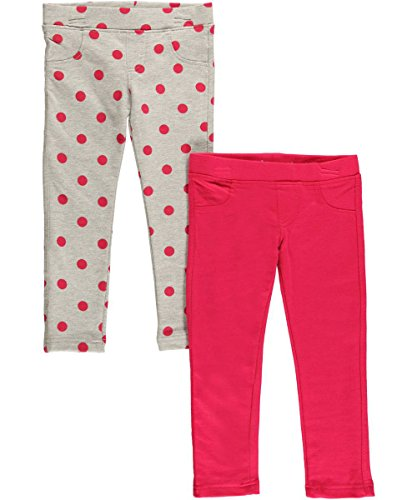 "Freestyle Revolution Little Girls' Toddler ""Dot Adore"" 2-Pack Skinny Pants - Gray/Pink, 2T front-274722"