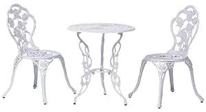 タカショー テーブルセットローズ ホワイト 60φ(テーブル1台、チェアー2脚)