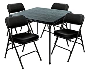 Heavy Duty 5 Piece Xl Card Table And Ultra Padded Chair Set In Black Vinyl