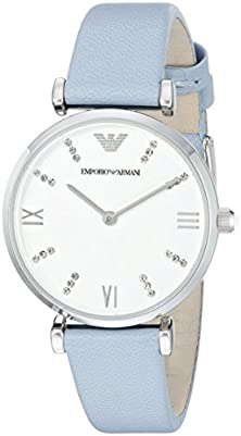 buy Emporio Armani Women'S Ar1928 Retro Crystal-Accented Stainless Steel Watch With Leather Band