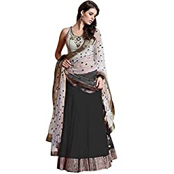 London Beauty Georgette Lehenga Saree(LBC000GREYBLACKCHOLI_GREY & BLACK)