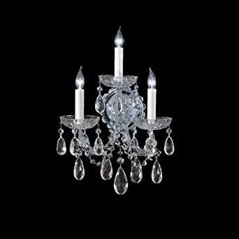 Maria Theresa 3 Light Wall Sconce Crystal: Clear Swarovski Spectra, Finish: Polished Chrome