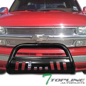 Topline Autopart Black HD Bull Bar Brush Push Bumper Grill Grille Guard 99-06 Silverado/Sierra 1500 (Silverado Custom Front Bumper compare prices)