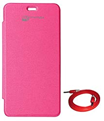 TBZ Flip Cover Case -Magenta for Micromax Unite 2 A106 With Aux Cable