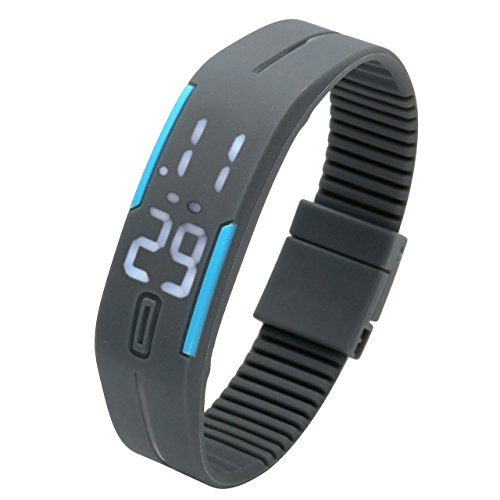 Top Plaza Simple Gel Rubber Bracelet Touch Screen White LED Digital Display Unisex Sports Watch-Grey (Top Digital Watches compare prices)