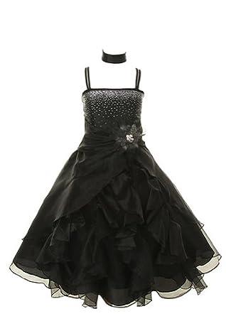 Cinderella Couture Girls Cascading Organza Dress Black 2 (1101)