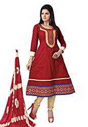 Govardhan Fashion red and creem cottan Unstitched Dress Material