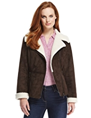 M&S Collection Mock Suede Faux Shearling Biker Jacket