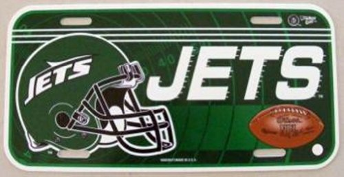 NFL NEW YORK JETS LOGO W FOOTBALL HELMET POLY CAR LICENSE PLATE SIGN. at Amazon.com