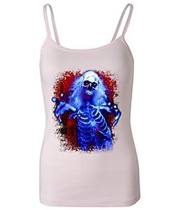 Sinister Skeleton Ghost Women's Spaghetti Tank Top Pink Medium