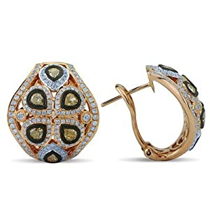 White and Pear Cut Fancy Yellow Diamond Earrings In 18K Rose Gold