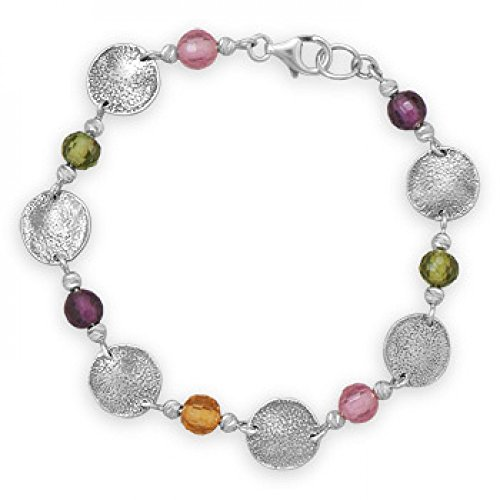 7.5 Inch Multicolor Glass Bead And Disc Bracelet