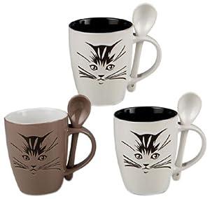 Silea 222/9199 - Tazas (cerámica, 3 unidades), diseño de gatos   revisión y más información