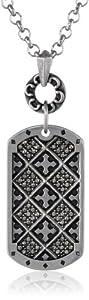 "Stainless Steel Oxidized Czech Black Rhinestone Multi-Cross Textured Tag Pendant Necklace, 18"""