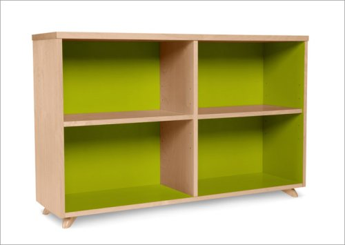 True Modern Low Bookcase in Lime Green