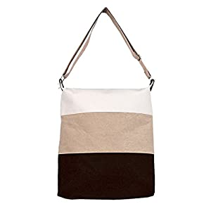 Hoxis Color Matching Stripes Canvas Hobo Shoulder Bag/ Oversize Cross Body Bag
