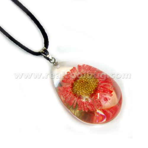 REALBUG Red Daisy Necklace, Clear