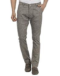 FEVER Men Self Design Trousers, Grey