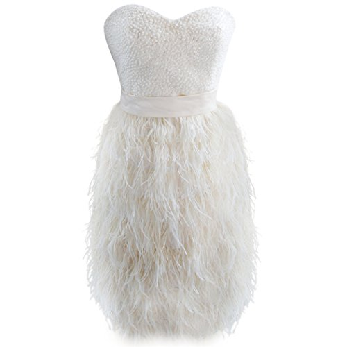 Szmh Women'S Champagne Ostrich Feather Short Prom Dress For Party Size Us8