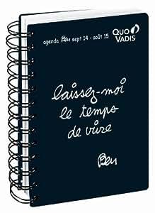 Quo Vadis - Ben - Textagenda Spiralé - Agenda Scolaire Journalier 12x17 cm Noir - Année 2014-2015