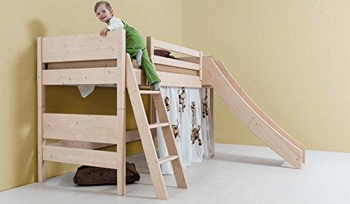 Kinder-Hochbett mit Rutsche - aus Fichte, Buche, Eiche, Zirbe 90x200 140x200 (Zirbe 140x200)