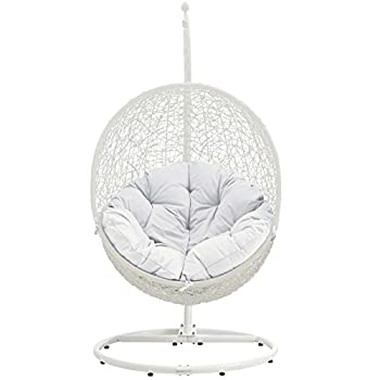Modway EEI-2273-WHI-WHI Hide Wicker Rattan Outdoor Patio Balcony Porch Lounge Egg Swing Chair Set with Stand White