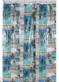 Amazon.com - Maldives Tropical Photos Vinyl Shower Curtain Bacova