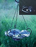 Echo Valley 5141 Illuminary Hanging Birdbath Birdfeeder, Blue Swirl