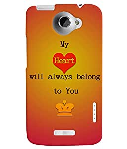 Fuson 3D Printed Love Designer back case cover for HTC One X - D4527