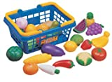 Fruit and Vegetable Basket: Pretend Play Toy Foods for Children's Kitchen (25 Piece)