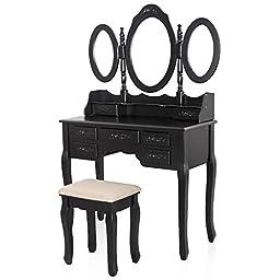 SONGMICS Vanity Set w/ Stool Make-up Dressing Table, 3 Mirrors 7 Drawers w/ 2 Dividers Black URDT91H