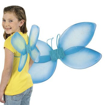 Girls Blue Nylon Dragonfly Fairy Wings