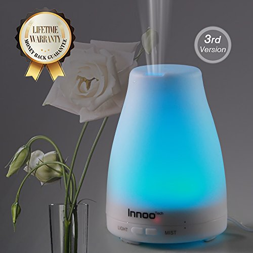 InnooTech-100ml-Diffusore-di-Aromi-a-Ultrasuoni-Aromaterapia-Terapie-Alternative-Diffusore-di-Oli-Essenziali-Umidificatore-Ultrasonico-Diffusore-di-Essenze-Foschia-Fredda-LED-7-Colori-Autospegnimento-