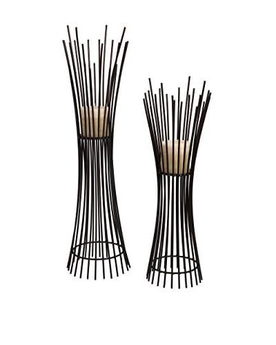 Metal Candleholder Duo - Set of 2, 27.5X9X9