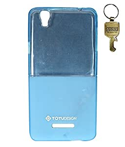 Totu Design Transparent Crystal Clear Soft Silicon Back Case Cover for Micromax Yureka AQ5510 with Fuson Key - BLUE