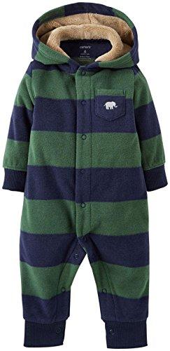 Carter'S Baby Boys' Fleece Hooded Romper (Baby) - Green/Navy - Green - 12 Months front-172722