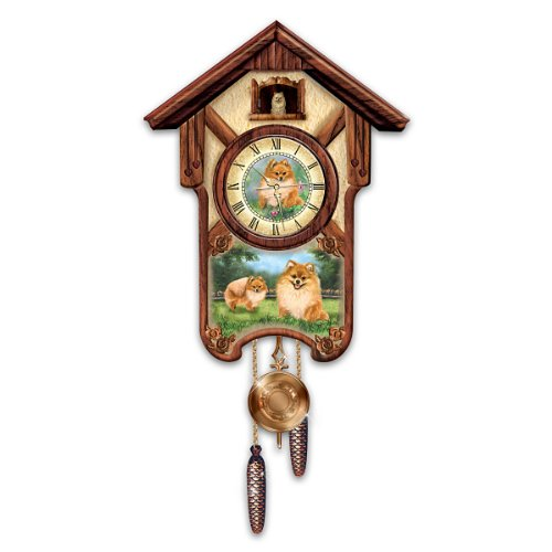 Linda picken pretty pomeranians cuckoo clock by the bradford exchange coconuas232 - Colorful cuckoo clock ...