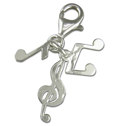 Silver Music Notes Clip On Charm for Sweetie Bracelet