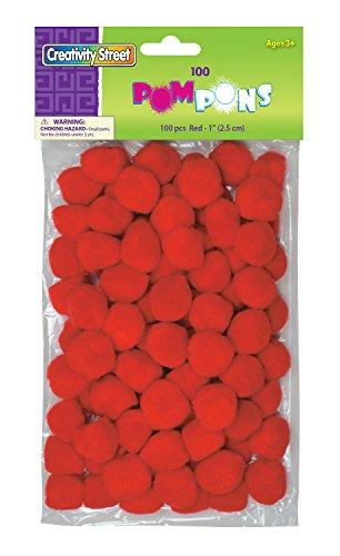 """Creativity Street Pom Pons 100-Piece x 1"""" Red"""