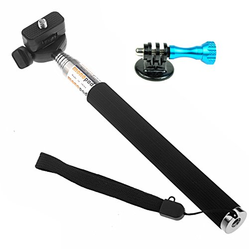 St-55 Black Telescoping Extension Pole/Fold Retractable Handheld Monopod + Tripod Mount Adpater + Blue Long Knob Screw For Gopro Hero Cameras