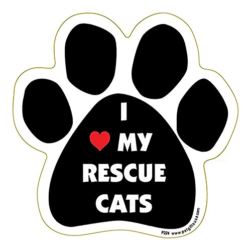 I Love My Rescue Cats Paw Shape Car, Truck, Refrigerator Magnet
