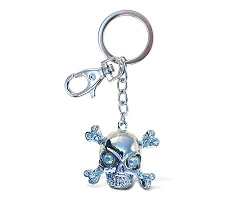 Puzzled Pirate Skull Sparkling Charm Keychain