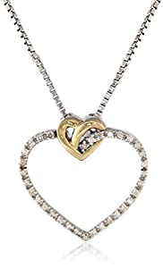 XPY Sterling Silver and 14k Gold Knotted Design Heart Diamond Pendant Necklace, 18""