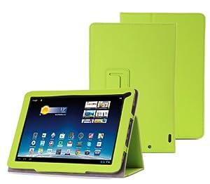 Supremery - Medion Lifetab E10320 E10318 E10316 E10317 E10315 Tasche Case Kunstlederetui Sleeve Cover Schutzhülle in Grün mit Standfunktion